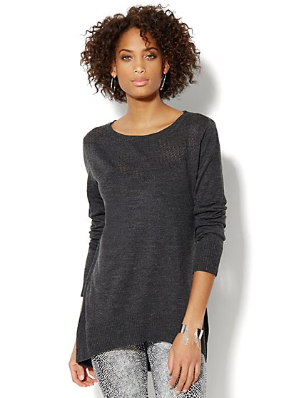 Pointelle Elliptical Tunic Sweater  - New York & Company