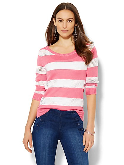Pointelle-Knit Sweater - Stripe  - New York & Company