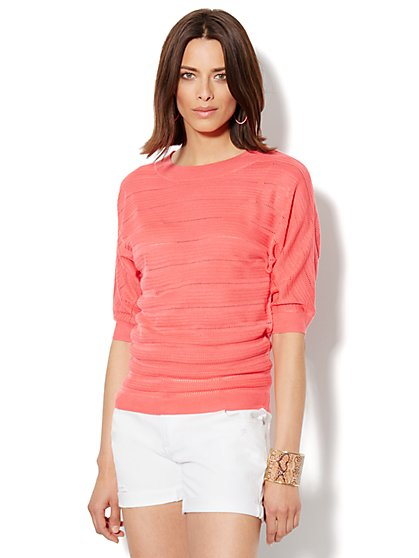 Pointelle Scoopneck Sweater