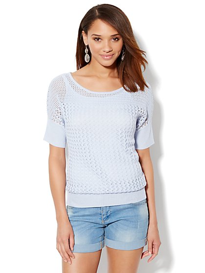 Pointelle Short Dolman-Sleeve Sweater