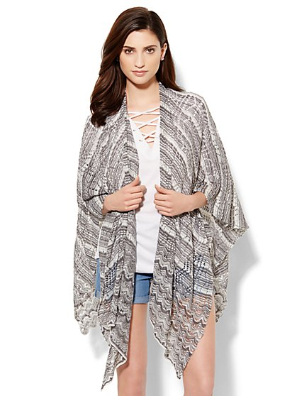 Pointelle Striped-Knit Ruana Shawl - New York & Company