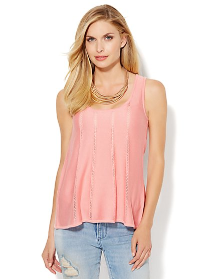 Pointelle-Trim Knit Trapeze Sweater Tank - New York & Company
