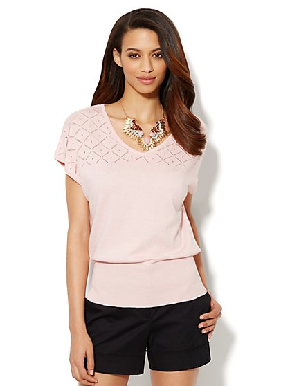 Pointelle V-Neck Dolman-Sleeve Sweater