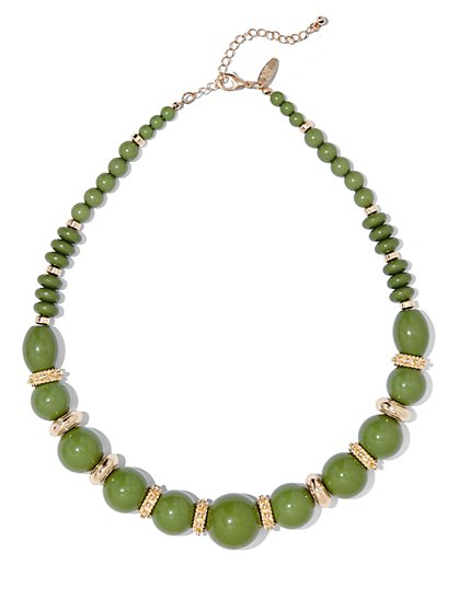 Polished Goldtone Beaded Necklace  - New York & Company