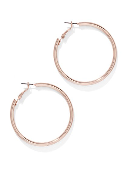 Polished Rose Goldtone Hoop Earring  - New York & Company