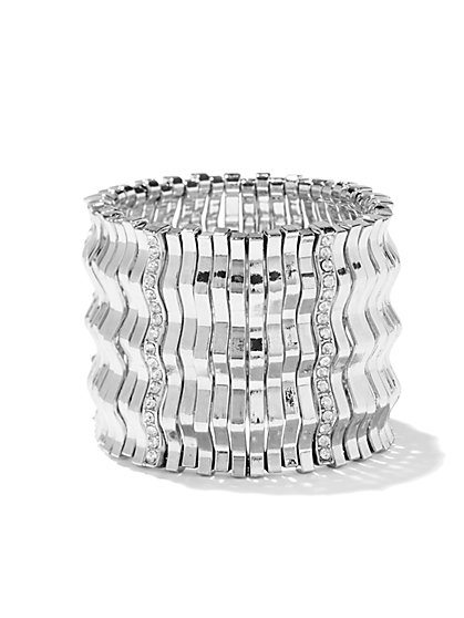 Polished Silvertone Stretch Bracelet  - New York & Company