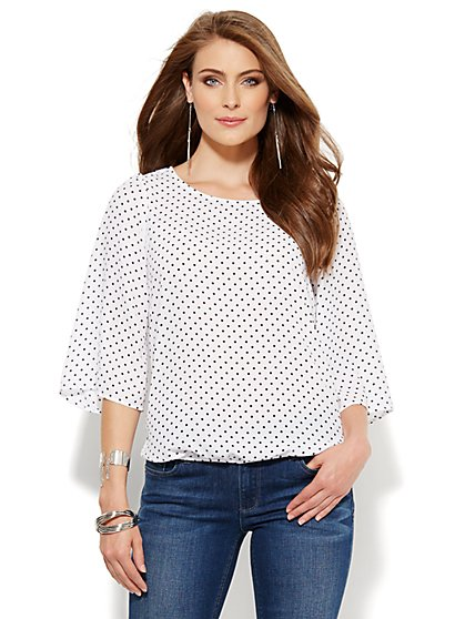 Polka-Dot Bubble-Hem Blouse  - New York & Company