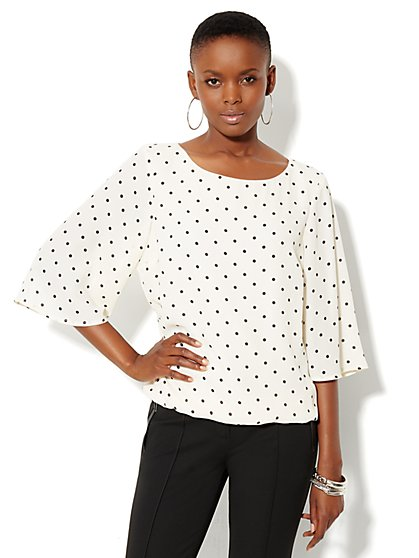 Polka-Dot Dolman-Sleeve Blouse - New York & Company