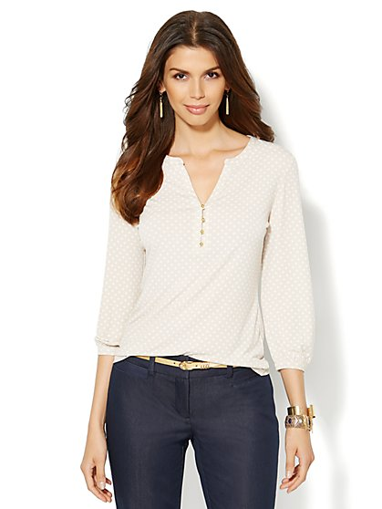 Polka-Dot Split-Neck Top  - New York & Company