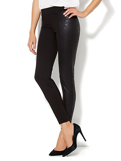 Ponte Contrast-Panel Legging - New York & Company