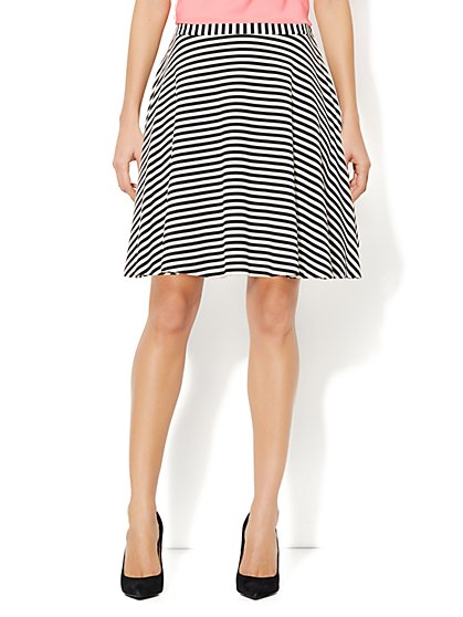 Ponte Full Skirt - Striped