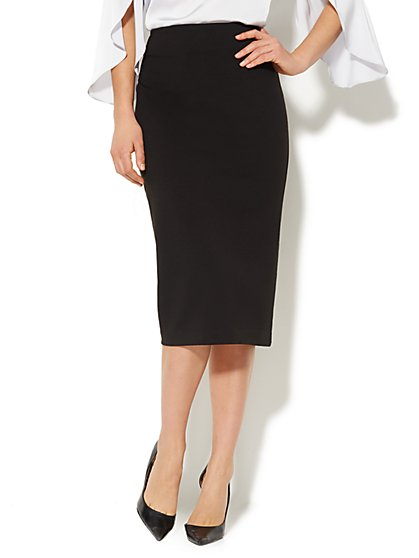 Ponte Midi Pencil Skirt - Solid - New York & Company