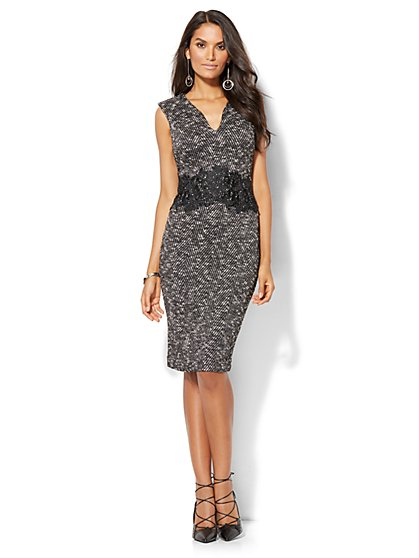 Ponte Tweed Sheath Dress - Petite  - New York & Company