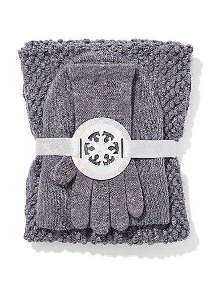 Popcorn Scarf, Hat & Gloves Gift Set - New York & Company