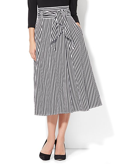 Poplin Tie Waist Skirt - Stripe - New York & Company