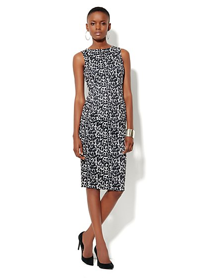 Print Scuba Sheath Dress - New York & Company