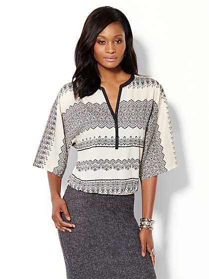 Printed Dolman Hi-Lo Blouse - New York & Company