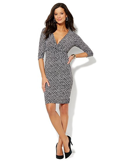 Printed Faux Wrap-Front Jersey Dress  - New York & Company