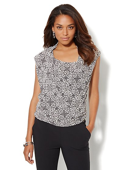 Printed Faux-Wrap Sleeveless Blouse - New York & Company