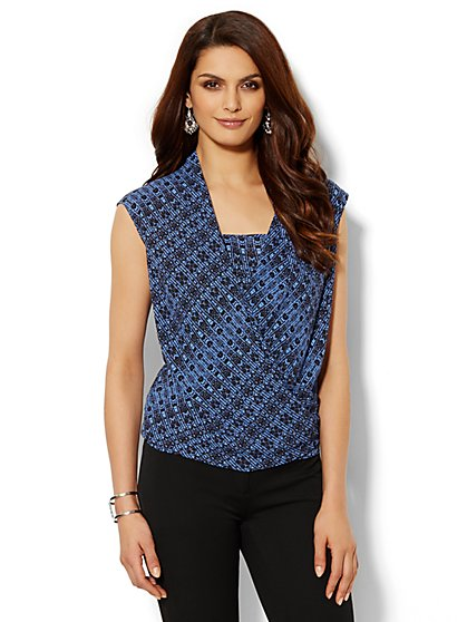 Printed Faux-Wrap Sleeveless Top  - New York & Company