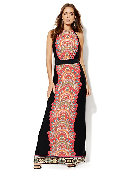 Printed Halter Maxi Dress - Petite  - New York & Company