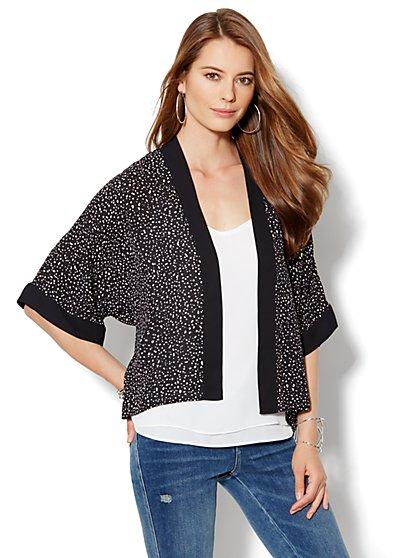 Printed Hi-Lo Kimono Jacket
