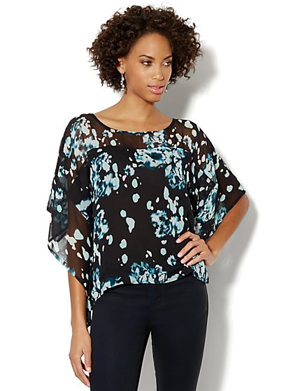 Printed Kimono-Sleeve Blouse - New York & Company