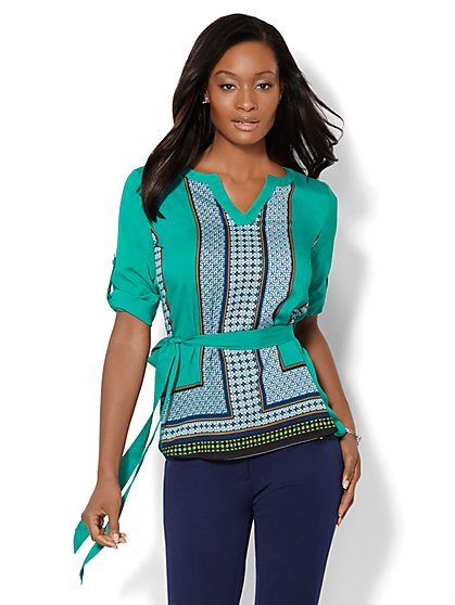 Printed Panel Tunic - Petite  - New York & Company