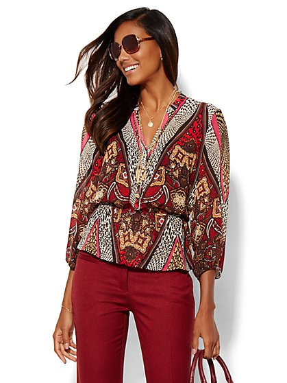 Printed Peplum Blouse - New York & Company