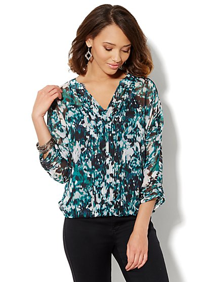Printed Pintuck Blouse  - New York & Company