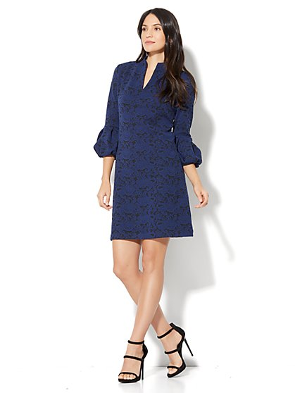 Puff-Sleeve Jacquard Shift Dress - New York & Company