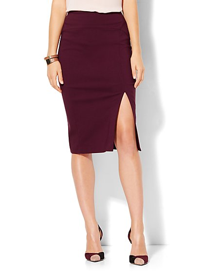 Pull-On Side-Slit Pencil Skirt - Ultra Stretch - New York & Company