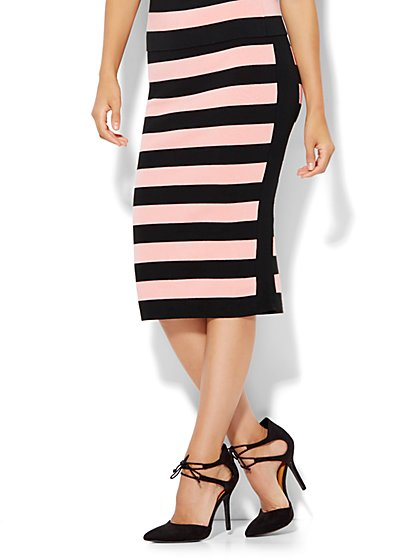 Pull-On Sweater Skirt - Stripe  - New York & Company