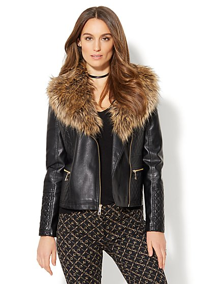Quilted Faux-Leather Moto Jacket - Removable Faux-Fur - New York & Company