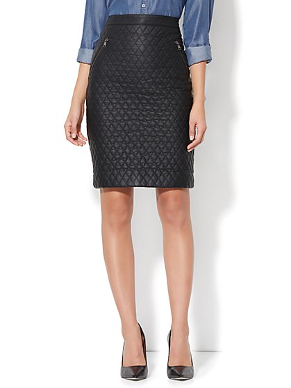 Quilted Faux-Leather Pencil Skirt - New York & Company