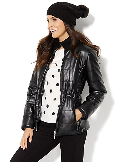 Quilted Faux-Leather Puffer Jacket  - New York & Company