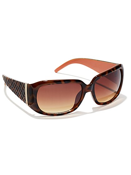 Quilted Faux-Tortoise Sunglasses - New York & Company