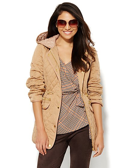 Quilted Hooded Jacket - Classic Camel - New York & Company