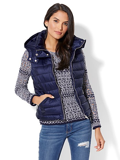 Quilted Hooded Puffer Vest - New York & Company