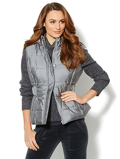 Quilted Hoodie Puffer Vest  - New York & Company
