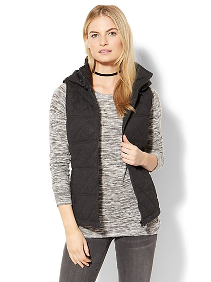 Quilted Knit Hooded Vest - New York & Company