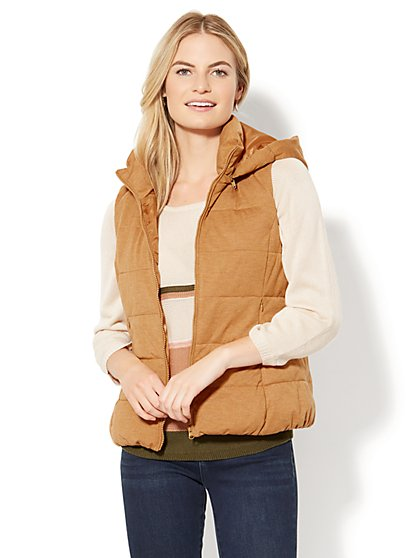 Quilted Knit Puffer Vest - New York & Company