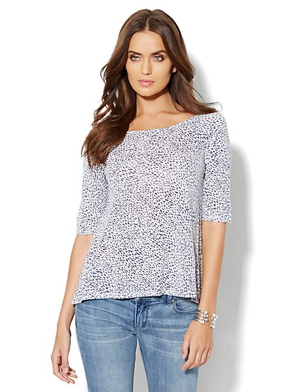 Raglan Print Knit Top - New York & Company