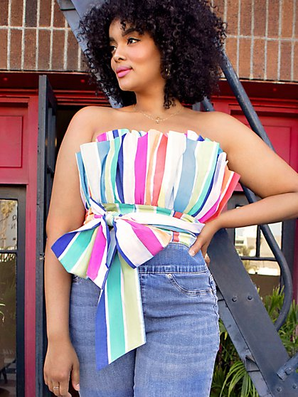 Rainbow Stripe Cupcake Top - 7th Avenue - New York & Company