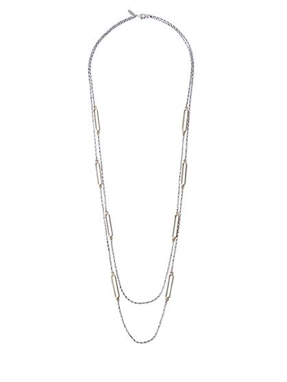 Rectangular-Accent Double-Row Necklace - New York & Company