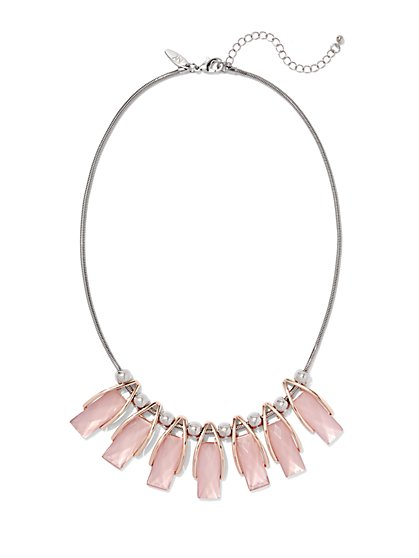 Rectangular Faux-Stone & Beaded Necklace  - New York & Company