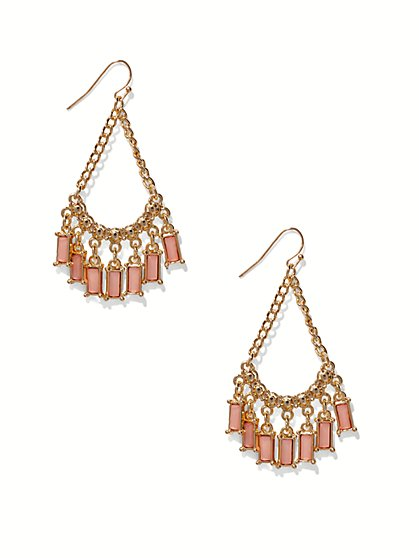 Rectangular Faux-Stone Chandelier Earring  - New York & Company