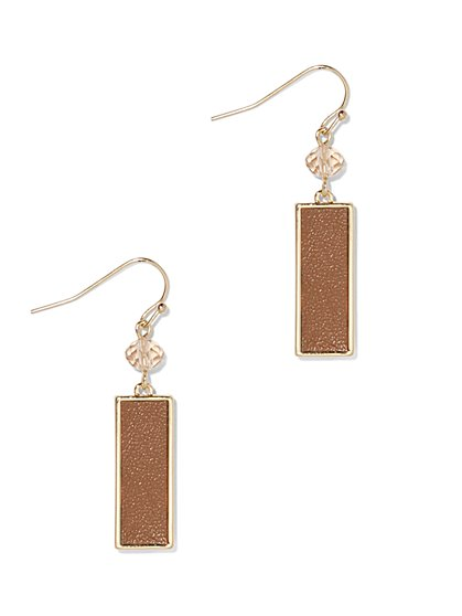 Rectangular Goldtone Drop Earring  - New York & Company