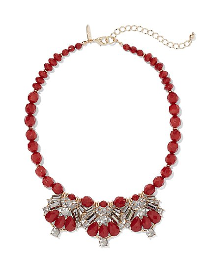 Red Beaded Statement Necklace  - New York & Company