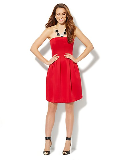Red Strapless Seamed Dress - New York & Company